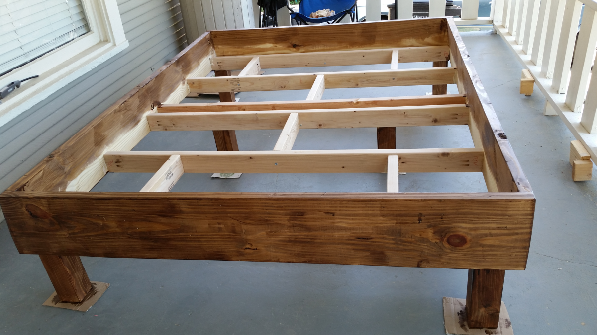 My first diy project rustic style bed frame for Diy rustic bunk beds