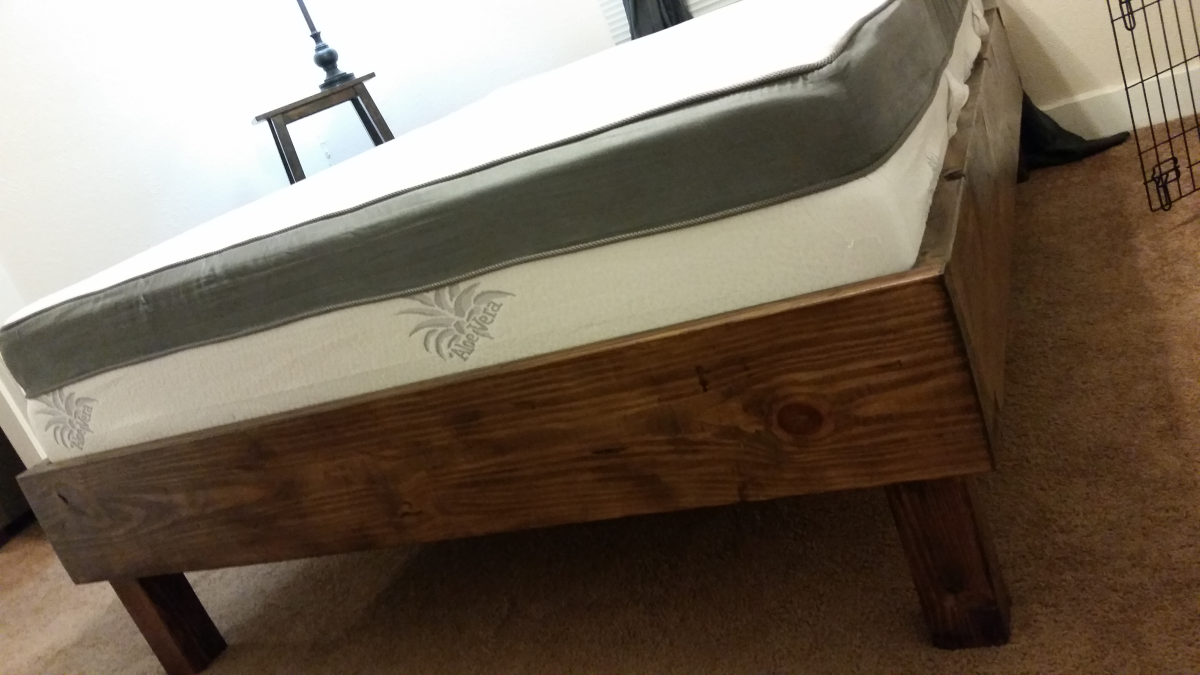 My first DIY Project RusticStyle Bed Frame Completed Samuel