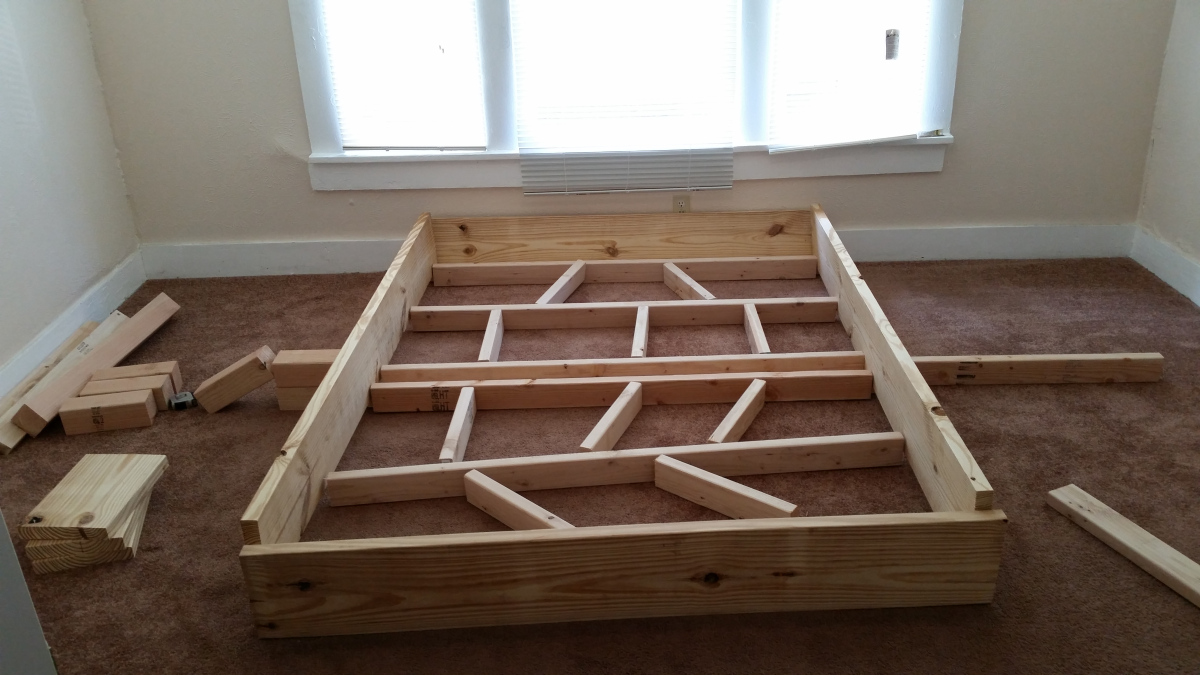 my first diy project rustic style bed frame construction phase